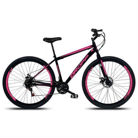 Imagem de Bicicleta Aro 29 Quadro 17 Freio a Disco Mecânico 21 Marchas Aço Preto Rosa - Dropp