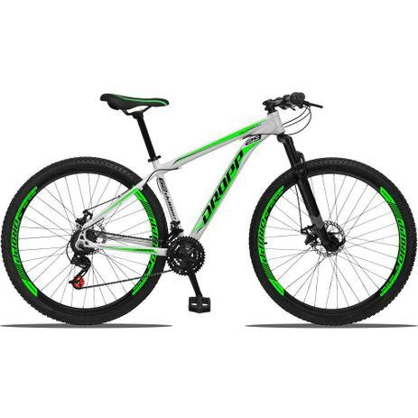 Imagem de Bicicleta Aro 29 Quadro 21 Alumínio 21 Marchas Freio a Disco Mecânico Branco/Verde - Dropp