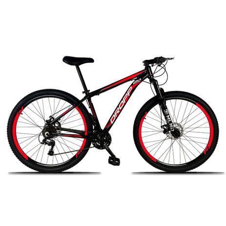 Imagem de Bicicleta Aro 29 Quadro 21 Freio Disco Mecânico 21 Marchas Alumínio Preto Vermelho - Dropp