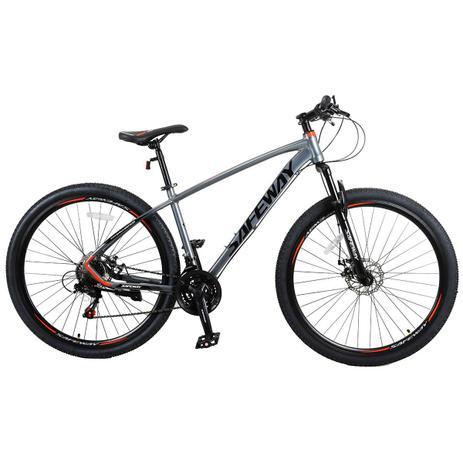Bicicleta Aro 29 Safeway Aluminio 21 marchas Shimano Freio a Disco e Suspensão Cinza