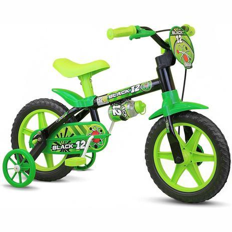 Imagem de Bicicleta Bicicletinha Infantil Nathor Black Aro 12 Menino