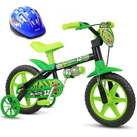 79a0a65f0 Bicicleta Criança De 3 A 5 Anos Aro 12 Menino Black 12 Com Capacete Nathor