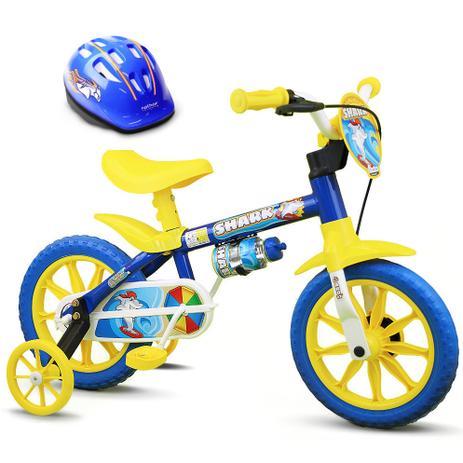 b0c5d0aeb Bicicleta Criança De 3 A 5 Anos Aro 12 Menino Shark Com Capacete Nathor