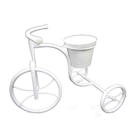 Imagem de Bicicleta floreira branca 1 vaso metal 45x30x33 Monte Real