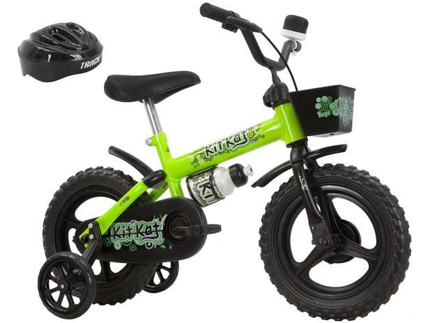 7b86632dc Bicicleta Infantil Aro 12 Track Bikes Kit Kat - Amarelo Neon com Rodinhas  com Cesta