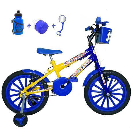 d3a23cc62 Bicicleta Infantil Aro 16 Amarela Azul Kit Azul C  Acessórios - Flexbikes