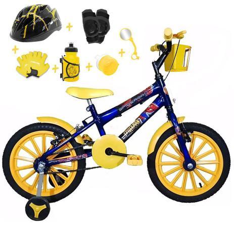 51a70d359 Bicicleta Infantil Aro 16 Azul Kit Amarelo C  Capacete e Kit Proteção -  Flexbikes