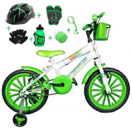 f8a4fe47d Bicicleta Infantil Aro 16 Branca Kit Verde C  Capacete e Kit Proteção -  Flexbikes
