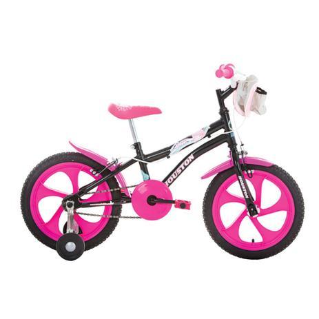 fb62991f9 Bicicleta Infantil Aro 16 Houston Tina Com Bolsa E Rodinhas Preta ...