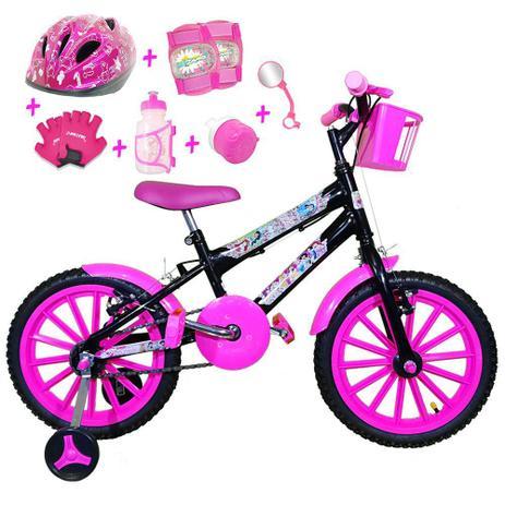 4a5eb231a Bicicleta Infantil Aro 16 Preta Kit Pink C  Capacete E Kit Proteção -  Flexbikes