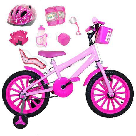 Imagem de Bicicleta Infantil Aro 16 Rosa Bebê Kit Pink C/ Capacete, Kit Proteção E Cadeirinha