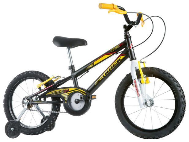 2f5a04cbf Bicicleta Infantil Aro 16 Track Bikes Track Boy - Preto e Branco com  Rodinhas Freio V-Brake