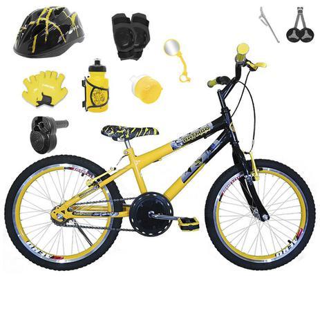 d23d8f928 Bicicleta Infantil Aro 20 Amarela Preta Kit E Roda Aero Amarela C  Capacete