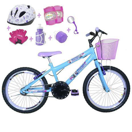 fb1a8efb6 Bicicleta Infantil Aro 20 Azul Claro Kit E Roda Aero Roxa C  Capacete E Kit  Proteção - Flexbikes