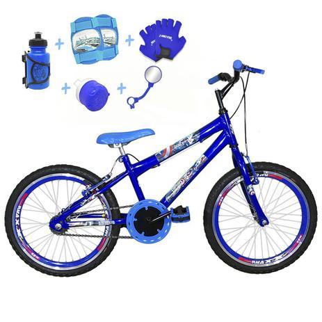 f2a331a02 Bicicleta Infantil Aro 20 Azul Kit E Roda Aero Azul C  Acessórios e Kit  Proteção - Flexbikes