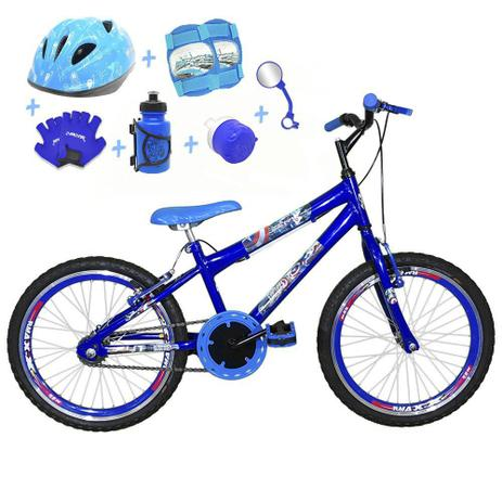 a9af9bc8c Bicicleta Infantil Aro 20 Azul Kit E Roda Aero Azul C  Capacete e Kit  Proteção - Flexbikes