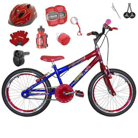 957d6ad68 Bicicleta Infantil Aro 20 Azul Vermelha Kit E Roda Aero Vermelha C  Capacete