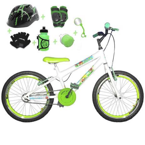 98a81b996 Bicicleta Infantil Aro 20 Branca Kit E Roda Aero Verde C  Capacete e Kit  Proteção - Flexbikes