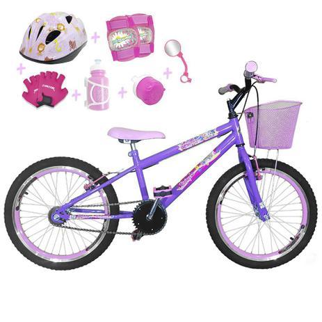 1162655f1 Bicicleta Infantil Aro 20 Lilás Kit E Roda Aero Rosa Bebê C  Capacete E Kit  Proteção - Flexbikes