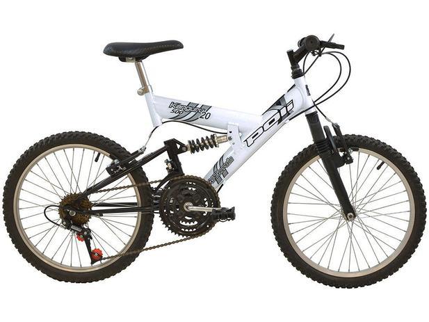 Bicicleta Infantil Aro 20 Polimet Kanguru - 18 Marchas Branca Freio V-Brake