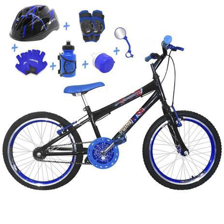 2be75114f Bicicleta Infantil Aro 20 Preta Kit E Roda Aero Azul C  Capacete e Kit  Proteção - Flexbikes