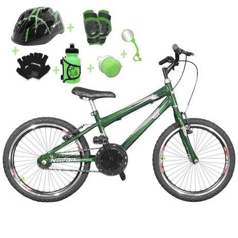 1a08c8d86 Bicicleta Infantil Aro 20 Verde Escuro Kit E Roda Aero Preta C  Capacete e Kit  Proteção - Flexbikes