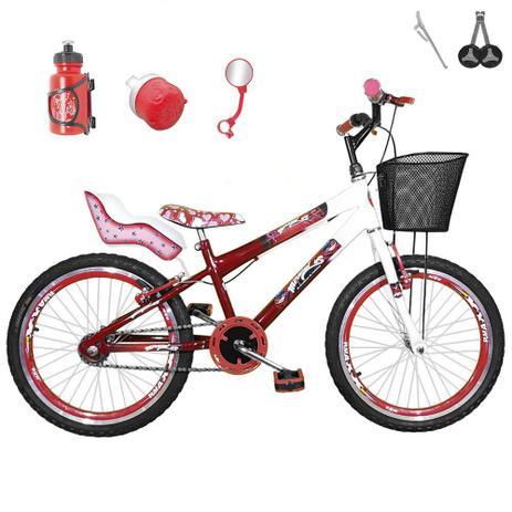 893f13e9c Bicicleta Infantil Aro 20 Vermelha Branca Kit E Roda Aero Vermelha Com  Cadeirinha - Flexbikes
