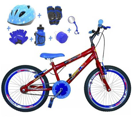 b5c01cd4e Bicicleta Infantil Aro 20 Vermelha Kit E Roda Aero Azul C  Capacete e Kit  Proteção - Flexbikes