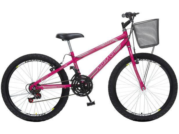 532b0ccf9 Bicicleta Infantil Aro 24 Colli Bike Allegra City - 21 Marchas Pink com Cesta  Freio V-break