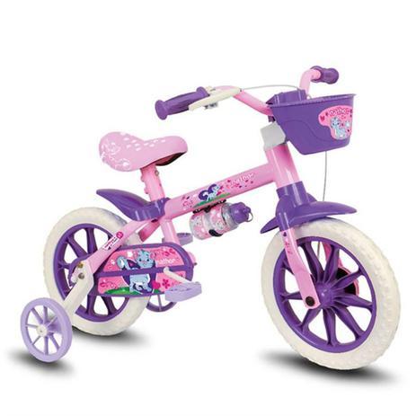 Imagem de Bicicleta Infantil Menina Rosa Lilas Cat Aro 12 Nathor