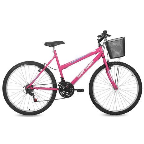 Imagem de Bicicleta Mormaii Aro 26 SAFIRA 18V c/Cesta C18  Rosa Barbie