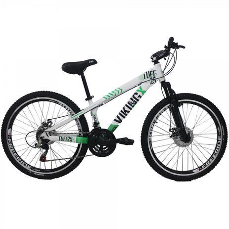 e45e3574c4 Bicicleta Viking X TUFF25 Freeride Aro 26 Freio a Disco 21 Velocidades  Cambios Shimano Branco Verde Vikingx