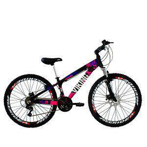 Imagem de Bicicleta Viking X TUFF25  Freeride Aro 26 Freio a Disco 21 Velocidades Cambios Shimano Preto Rosa Vikingx