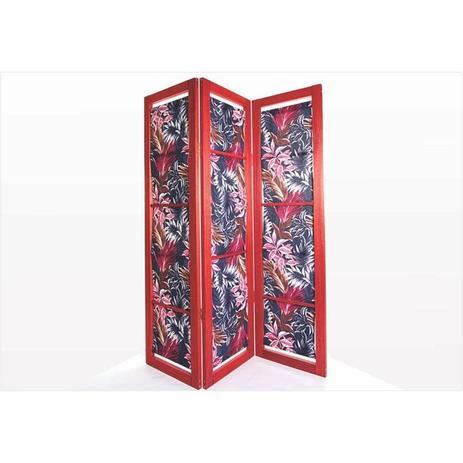 Imagem de Biombo com Tecido 18663.2 Dominoes Stain Vermelho - Mão  Formão