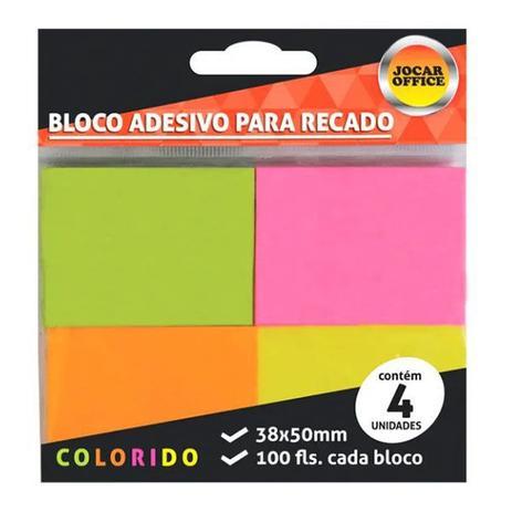 Imagem de Bloco Adesivo 38x50mm Neon 4 Blocos c/ 100 Folhas Jocar Office