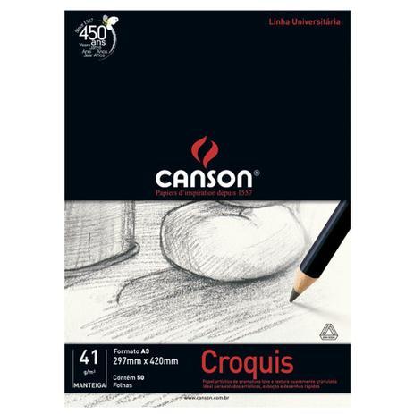 Imagem de Bloco Canson para Desenho Croquis Manteiga 41g/m² A3 297 x 420 mm com 50 Folhas  66667047