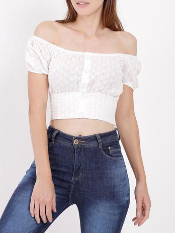 Imagem de Blusa Cropped Feminina Branco
