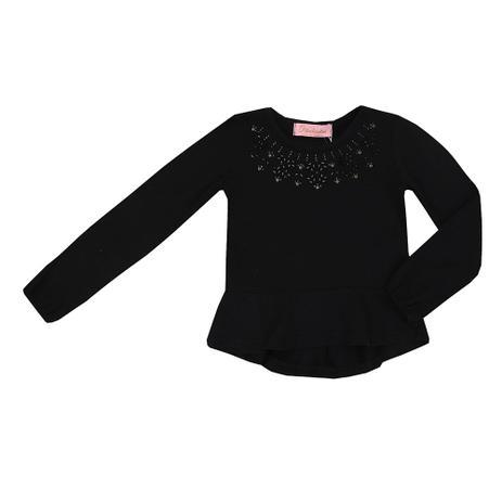 Blusa Infantil Cotton Babado Bordada Preto - Pituchinhus - Camiseta ... 478cd9762b2