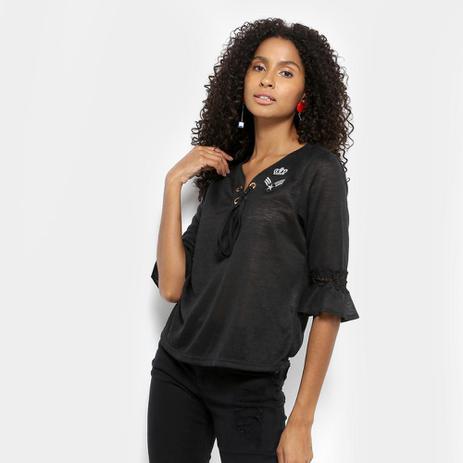 fad040941b5b Blusa Lily Fashion Bata 3/4 Guipir Patches Decote Amarração Feminina