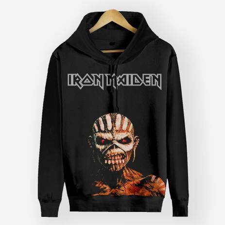 Imagem de Blusa Moletom Canguru Full Print Preto - Iron Maiden The Book of Souls