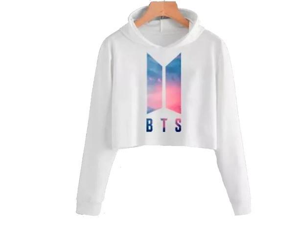 Imagem de Blusa Moletom Cropped Bts Dna Logo V Jimin Branco (P)