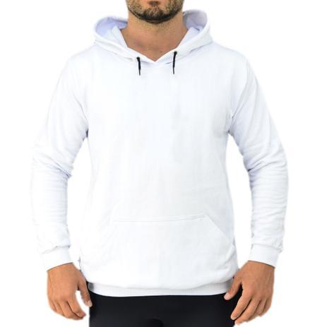 1b809df24bbc4c Blusa Moletom de Frio Masculino Feminino Canguru Liso Branco - Efect