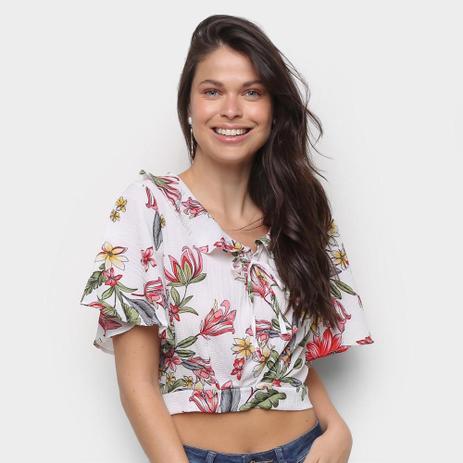 Imagem de Blusa Sofia Fashion Cropped Amarração Floral Feminina