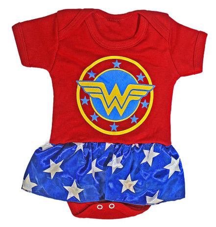Imagem de Body bebê Mulher maravilha Roupa infantil Fantasia M3 Heroi