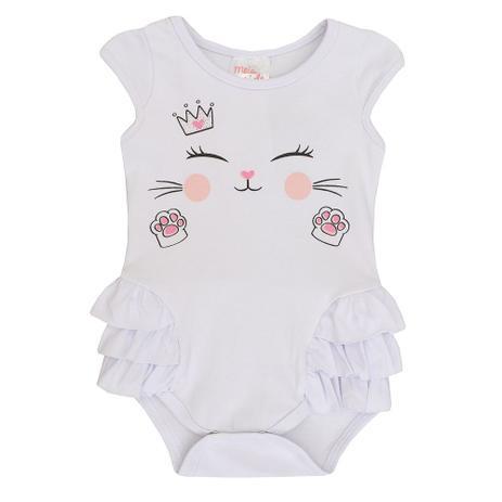 4d2fb9e488fab Body de Bebê Feminino Manga Curta Gatinha - Meia de leite - Body e ...