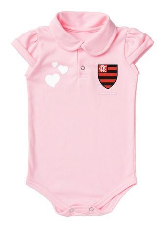 0ae9e20fd82385 Body Flamengo Polo Rosa Torcida Baby
