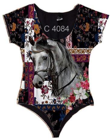 Body Manga Curta Cavalo Branco Desenho Floral C4084 Oba