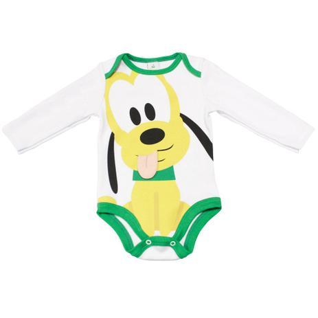 cb85fa2eab6a Body Manga Curta em Cotton - Branco e Verde - Fantasia Pluto - Disney