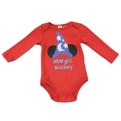 Body Manga Longa em Suedine - Vermelho - Fantasia Mickey - Disney ... 84e718aeccf