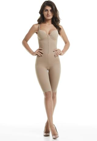 Imagem de Body Modelador Mondress Alta Compressão Com Bojo E Ziper Macacão Corrige Postura Macaquinho Cintura e Modela Pernas Quad